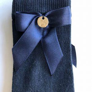 Meia Pata kniekous strik met hangertje blauw
