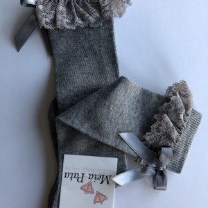Meia Pata kniekous met kant en strikje grijs