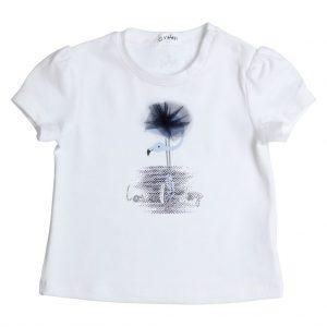 GYMP T-shirt FLAMINGO wit met blauwe flamingo