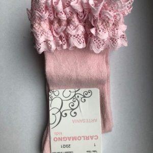 CARLOMAGNO kniekous roze kant