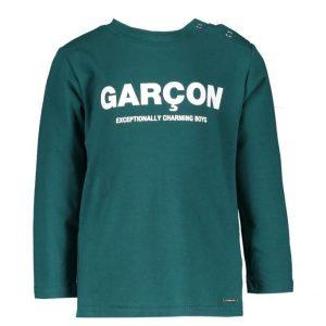 "Le Chic Garcon T-shirt ""Garçon"" donkergroen"